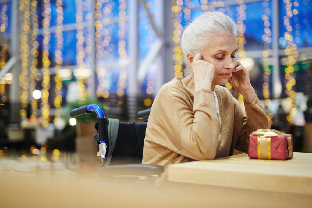 An older woman suffering from seasonal affective disorder