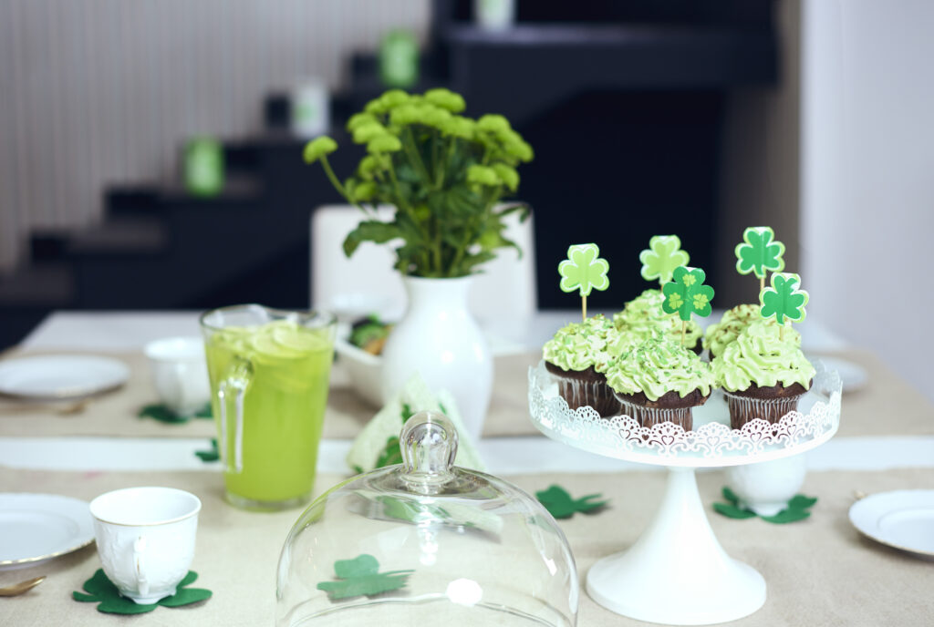 Table with sweet food at a sober Saint Patrick's Day